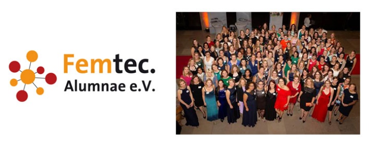 Logo und Gruppenbild zum 10-jährigen Jubiläum des Femtec.Alumnae e.V. (c) Femtec.Alumnae e.V.
