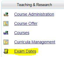 Auswahl Prüfungstermine in C@MPUS