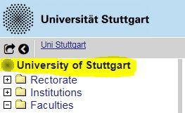 Auswahl Universität Stuttgart in C@MPUS